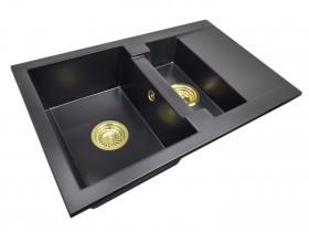Zlewozmywak granitowy 1,5-komory TESSA + złoty syfon