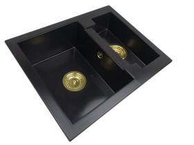 Zlewozmywak granitowy 1,5-komory GRACE + złoty syfon
