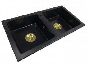 Two-chamber granite sink NINA + gold trap
