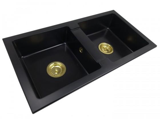 Zlewozmywak granitowy dwukomorowy NINA + złoty syfon