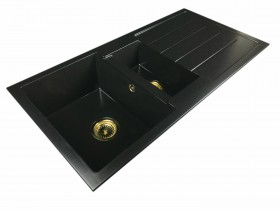 Zlewozmywak granitowy 1,5-komory HELEN + złoty syfon