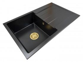 Zlewozmywak granitowy jednokomorowy ABI + złoty syfon