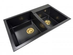 Two-chamber granite sink SOFI + gold trap