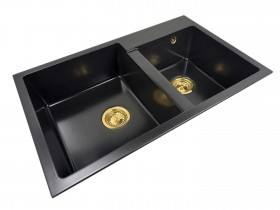 Zlewozmywak granitowy dwukomorowy SOFI + złoty syfon