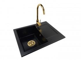 Granite sink one-part RITA + faucet BETA Gold