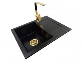 Granite sink one-part RITA + faucet Uran Gold