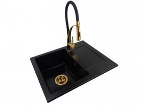 Granite sink one-part RITA + faucet NEXO Gold