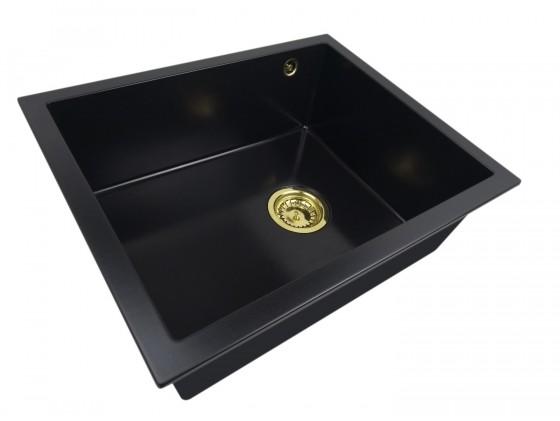 Zlewozmywak granitowy jednokomorowy SISY + złoty syfon