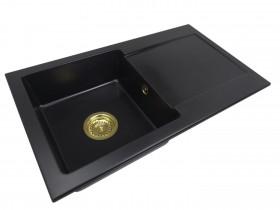Zlewozmywak granitowy jednokomorowy MIA + złoty syfon