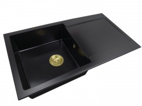 Zlewozmywak granitowy jednokomorowy DANA + złoty syfon